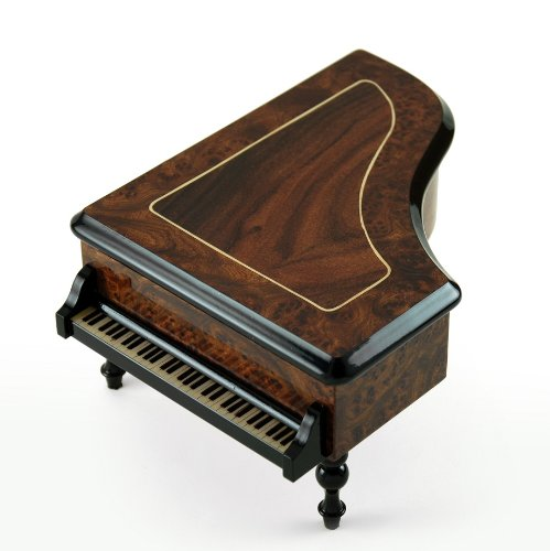 - Incredible Classic Style Grand Piano Sorrento Inlaid Music Box - Over 400 Song Choices - Lovely Hula Hands Swiss