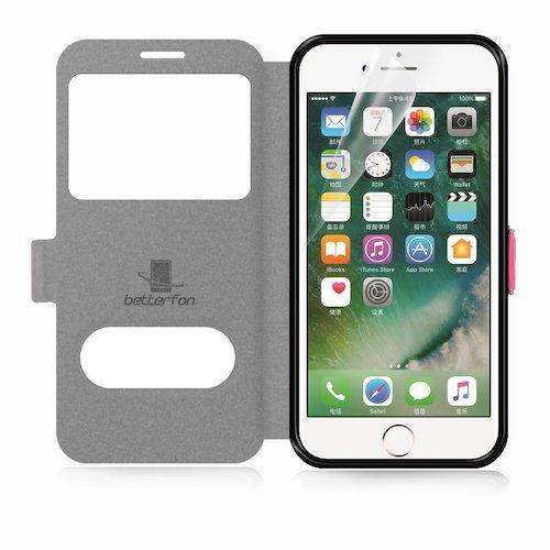 betterfon | Flipcover Handytasche Schutzhülle Case Buch Klapptasche Handyhülle Handy Schale + Gratis Displayschutzfolie für Apple iPhone 7 Pink
