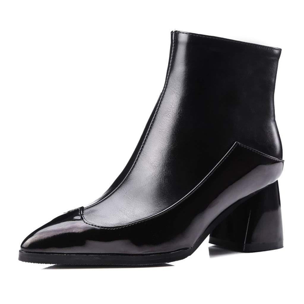 Frauen Martin Stiefel künstliche PU wies Kurze Stiefel mit hohem Absatz seitlichen Reißverschluss Stiefeletten im britischen Stil Herbst und Winter, schwarz,47EU
