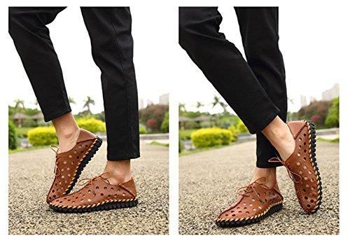 Ocasionales Los Zapatos Verano 2018 de marrón hellomiko de Hombres de Cuero Respirables Los Moda Huecos Hombres del nuevos de Zapatos vaaqnTPZ