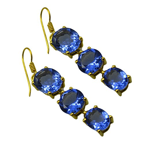 - Jewelryonclick Blue Sapphire CZ Dangle Earrings For Women Fashion Gold Plated Handmade Indian Jewelry