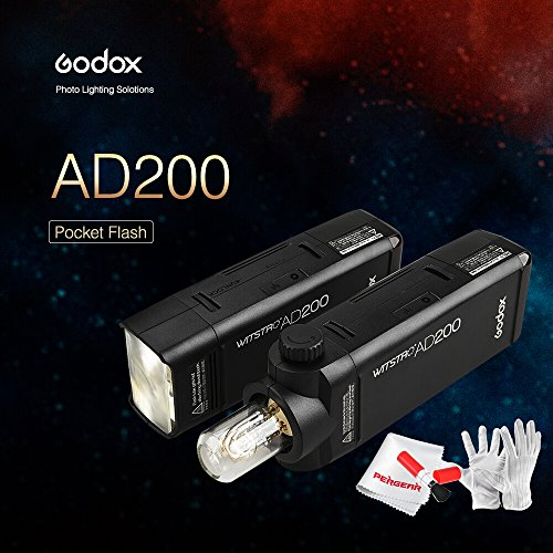 Godox AD200 200Ws 2 4G TTLフラッシュストロボ1/8000 HSSコードレスモノライト コンパクト 多機能 キヤノンのE-TTL ニコンI-TTL ソニーTTLなど対応 リーンキットセット付属