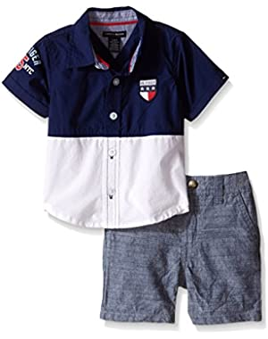 Tommy Hilfiger Baby Boys' Color Block Woven Poplin Shirt and Chambray Shorts