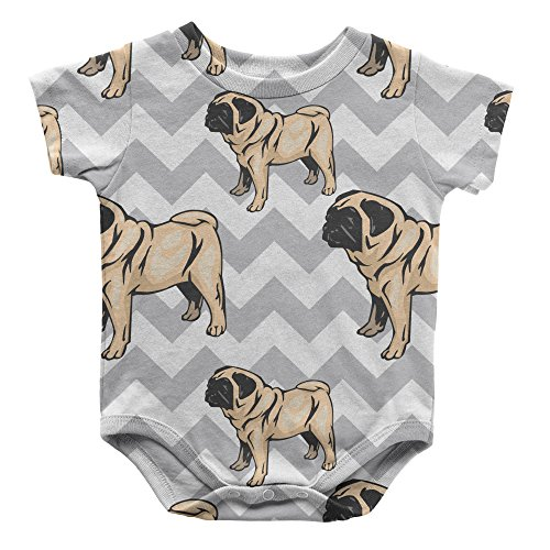 Cute Rascals Pug Dog Gray Zigzag Infant One Piece Snapsuit Bodysuit 6 Months -