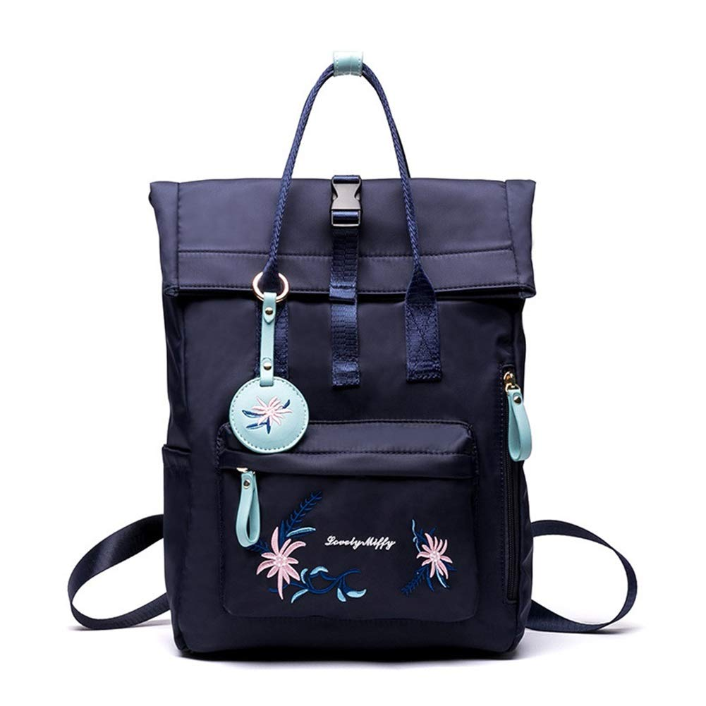 HWX New Double Shoulder Backpack Leisure Travel Literary Embroidery Nylon Student Bag for Women Ladies and Girls Color : Blue, Size : 26cm11cm35cm