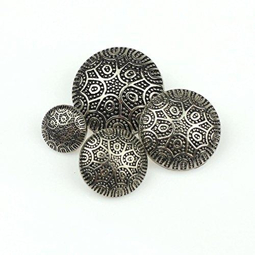 Buttons Shank Pattern (RECHERE 24PCS Metal Exquisite Pattern Shank Buttons Coat Sweater For DIYS Sewings Embellishment(Silver,13mm))