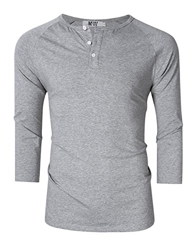 Kuulee MrWonder Men's Casual Slim Fit Raglan Baseball 3/4 Sleeve 3 Button Henley T-Shirts (M, Ash Grey)