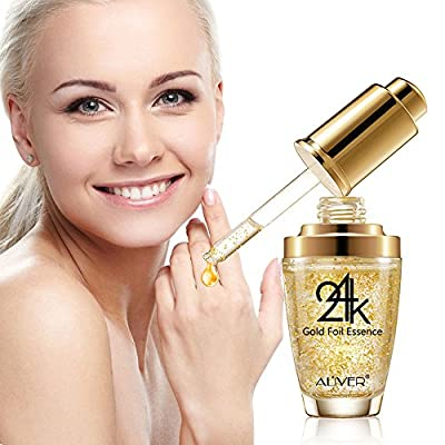 24k Pure Gold Foil Essence Serum, Makeup Primer, Moisturizing Anti-Aging Anti-Redness Acne Treament Essencial Cream, Face Skin Essence Serum Hyaluronic(30ml/1 ounce))
