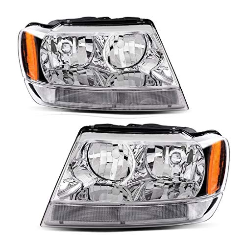 Headlight Assembly for 1999 2000 2001 2002 2003 2004 Jeep Grand Cherokee,OE Chrome Housing Headlamp,Driver and Passenger Side,One-Year Limited Warranty