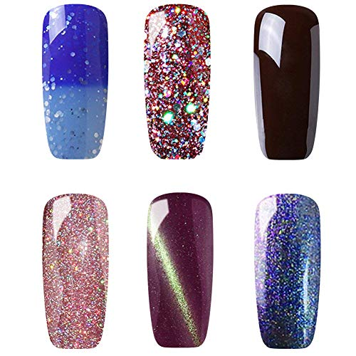 ish Set 6PCS Soak Off Gel Lacquer 3D Cat Eye Gel with Magnet Stick, Color Changing Gel,Glitter Gel, Chameleon Chameleon Gel,Rainbow Gel,Brown Gel ()
