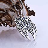 Wolf Necklace Silver Fenrir Necklace Wolf Paw Pendant Nordic Viking Gifts for Men Norse Jewelry
