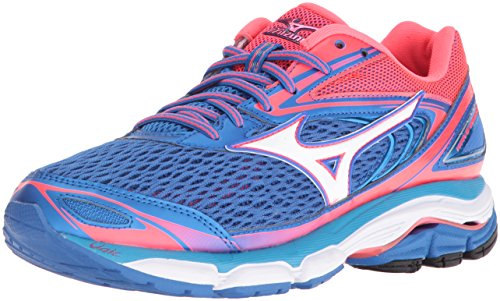 Mizuno Women's Wave Inspire 13 Running Shoe, Malibu Blue/Pink, 8.5 B US