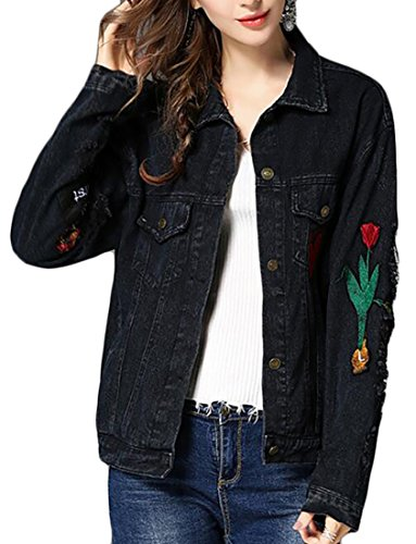Beloved Women's Autumn Long Sleeve Slim Fit Button Distress Casual Embroidered Hole Denim Jacket Black ()