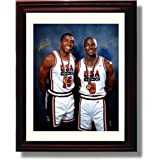 Framed Michael Jordan and Magic Johnson Autograph Replica Print - USA Dream Team