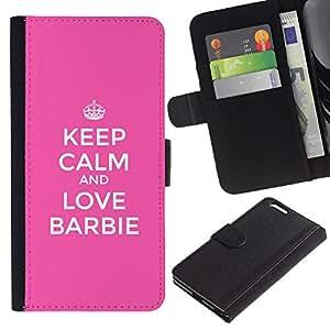 EJOY---La carpeta del tirón la caja de cuero de alta calidad de la PU Caso protector / Apple Iphone 6 PLUS 5.5 / --La calma y Rosa motivación divertido