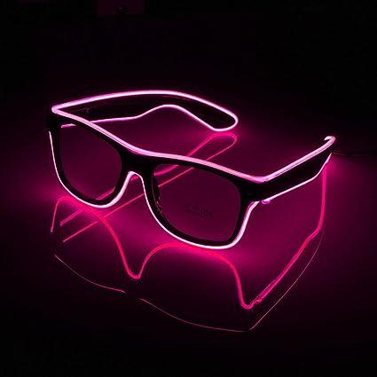 AOLVO Gafas de Sol Luminosas LED, Gafas de Sol Brillantes, Gafas de Alambre EL, Gafas de Sol con luz LED para Halloween, Navidad, Fiesta de ...