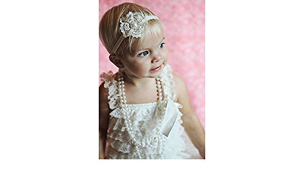 Pearl Headband Girls Headband Photo Prop Accessories Hair Accessories Lace Flower Headband Hair Flowers Ivory Headband