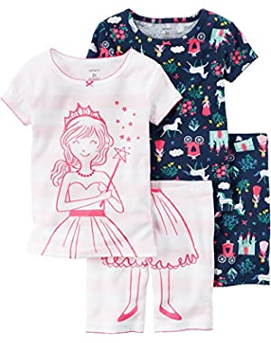 Carters Toddler Girls 4-pc. Princess Pajama Set 4T Pink/navy blue