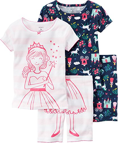 Carters Toddler Girls 4-pc. Princess Pajama Set 3T Pink/navy blue