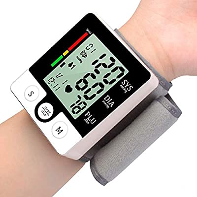 ROWEQPP Wrist Bracelet Digital Blood Pressure Monitor Meter Automatic Sphygmomanometer Hemomanometer Pulsometer Smart Fitness Wristband English Version Battery: Electronics