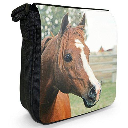Canvas Beautiful Bag Horse Shoulder Elegant Black Of Brown Portrait Small Horses Size qpx6pFOw