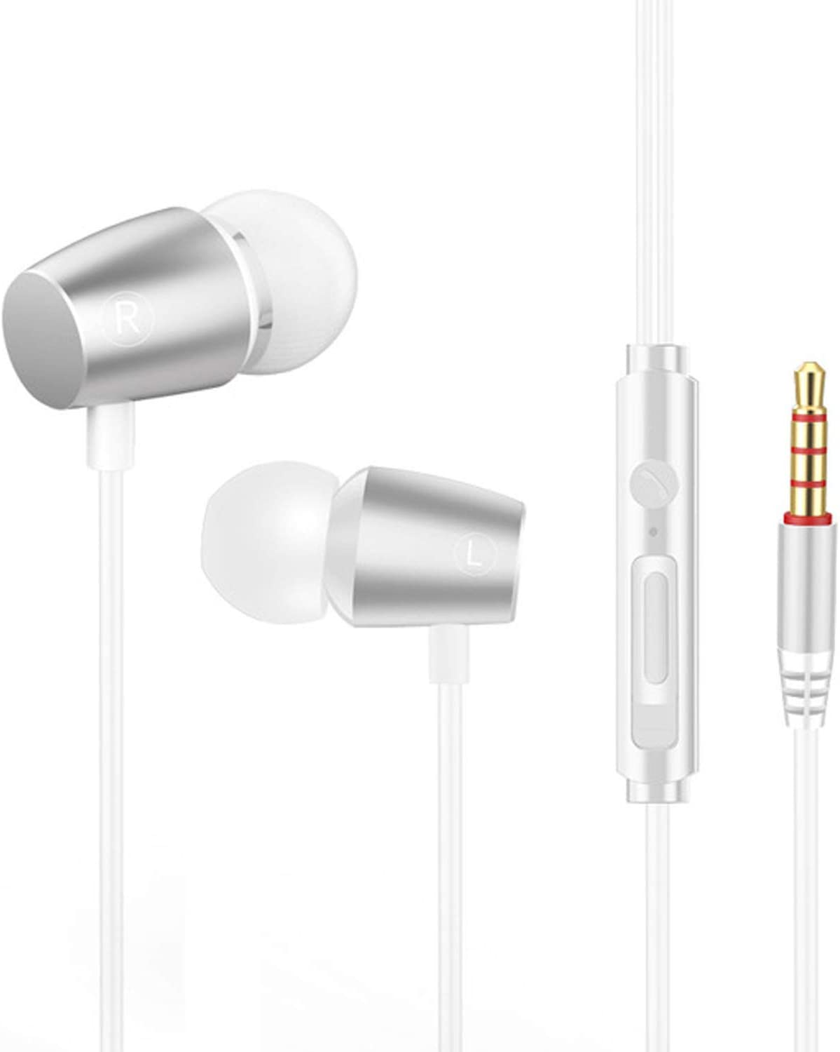 Earbuds, Wired Earphones with Microphone and Volume Control Stereo 3.5mm in-Ear Headphones for Running Workout Gym