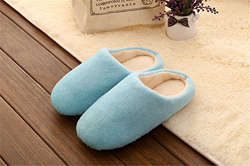 Remeehi - Zapatillas de estar por casa de Terciopelo para mujer Azul