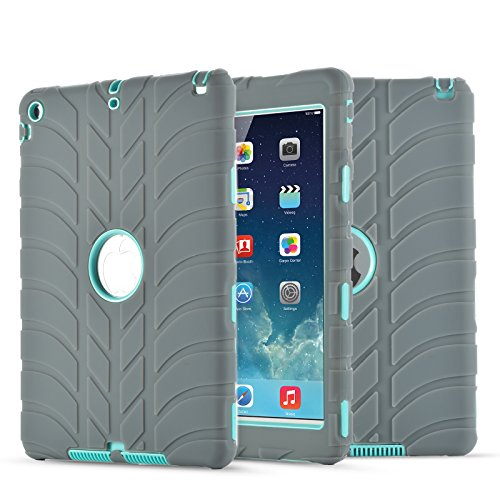 (iPad Air Case,iPad 5 Case, UZER Tire Pattern Shockproof Anti-Slip Silicone High Impact Resistant Hybrid Three Layer Hard PC+Silicone Armor Protective Case Cover for iPad Air/iPad 5 2013 Old Model)