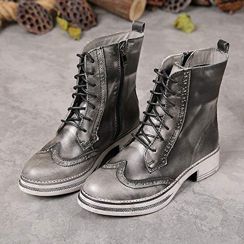 ZHRUI Brogue Stiefel Damen Reißverschluss Vintage Leder Martin Schuhe (Farbe (Farbe (Farbe   Grau, Größe   EU 39) acb9e6