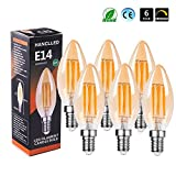 E14 Dimmable 6W LED Candle Bulb, HANCLLED E14 C35 Warm White 6W Vintage Edison Small Screw SES LED Filament Candle bulb Amber Clear Decorative Lamp Bulbs 60W Incandescent Energy Saving Light bulbs Replacement - 6 pack