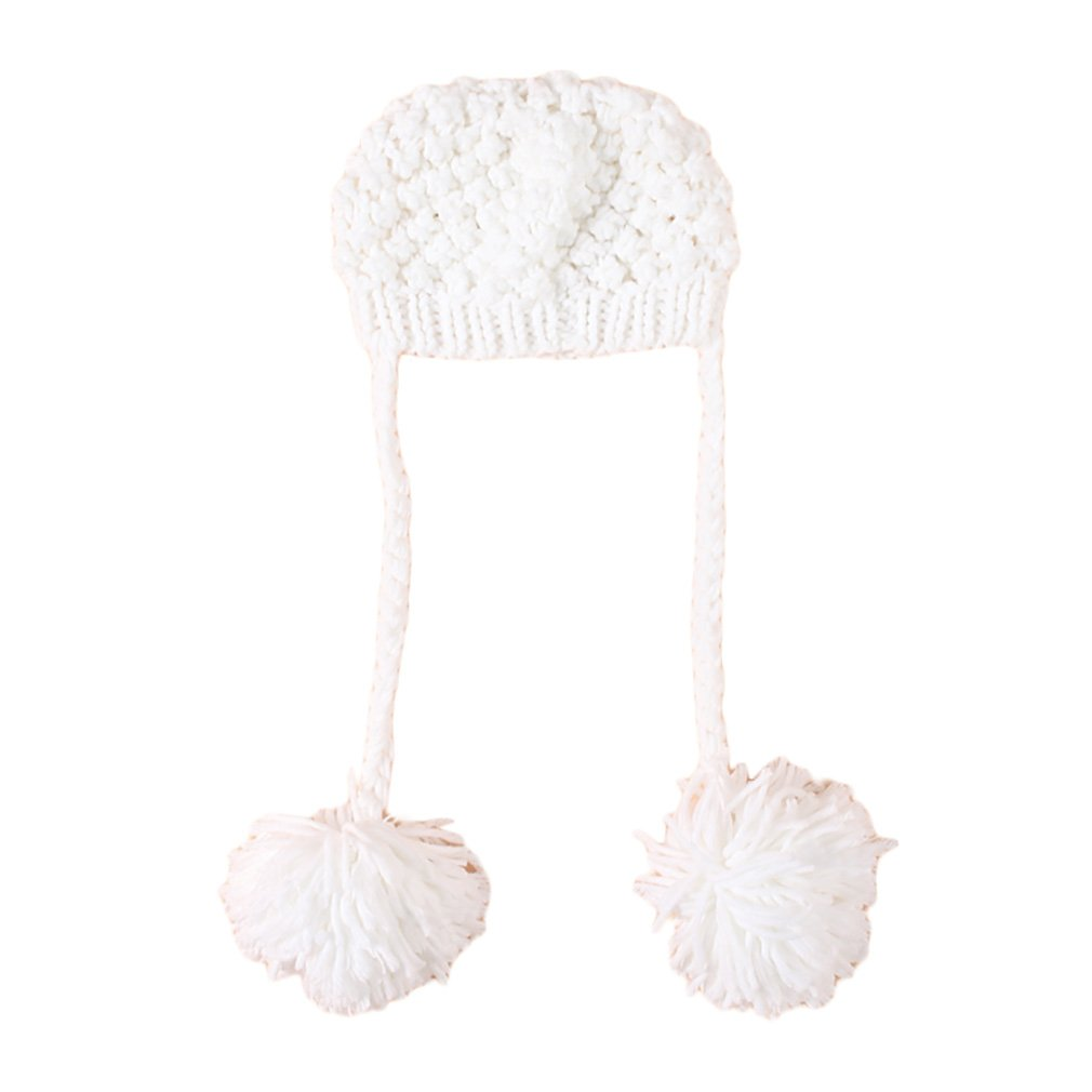 Youngate Solid Color Newborn Baby Boy Girl Pompom Knit Braids Hat Cap Photo Shoot