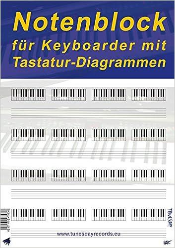 Notenblock für Keyboarder mit Tastatur-Diagrammen - Notenpapier ...