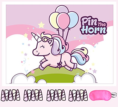 Pin The Horn on the Unicorn Party Supplies, Games and Decorations For Girls - Rainbow Unicorn Birthday Party Favors and Gifts for Girls - Includes Unicorn Poster (21