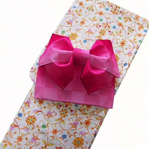 貧しい紫の弱まる浴衣 レディース セット 女性浴衣【綿麻 変り織】レトロモダン柄 作り帯セット
