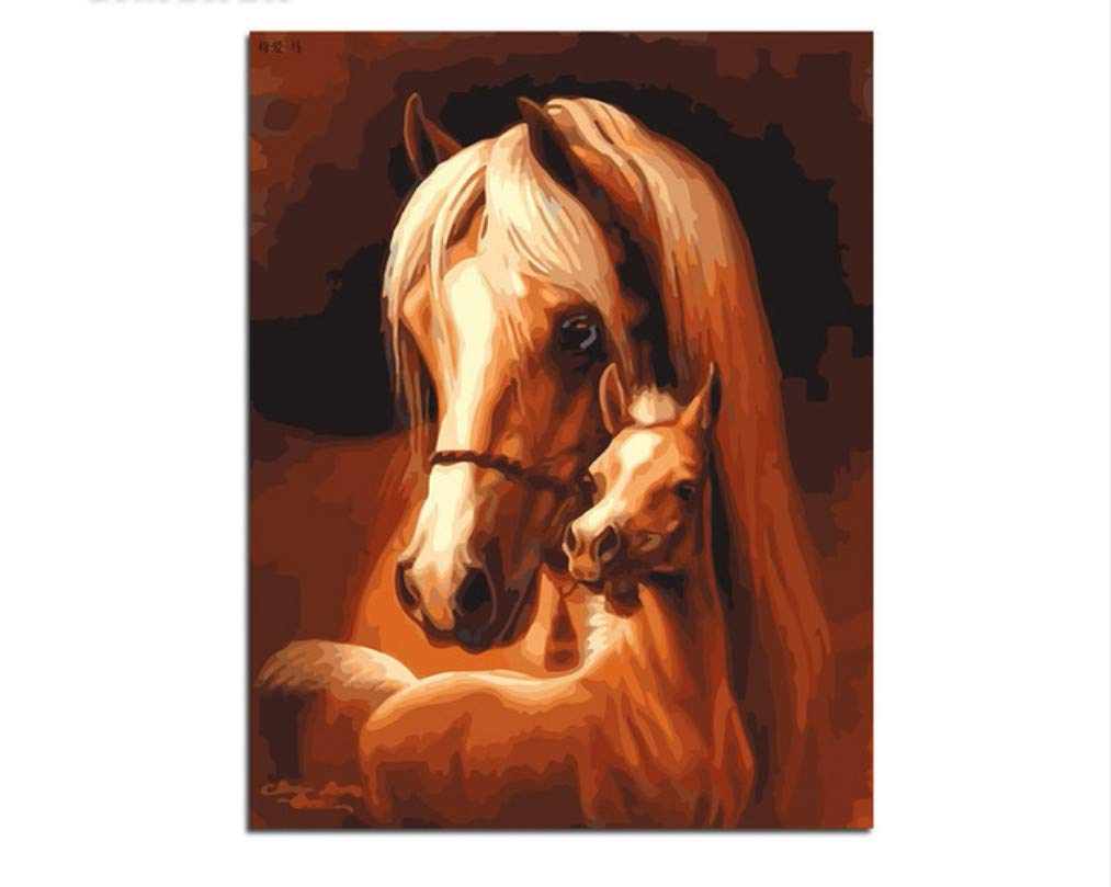 XIGZI Pferd Paare Malen Malen Malen Nach Zahlen Kits DIY Malen Nach Zahlen Malerei Zeichnung Auf Leinwand Für Hauptdekoration Wandkunst 40X50 cm,Mit Holzrahmen,I B07P3R9D8N   Zuverlässige Leistung  90b3fd