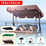 dDanke 3 Seater Garden Swing Replacement Canopy Cover Heavy Duty UV Block Sun Shade Waterproof for Outdoor, 195x125cm, Brown