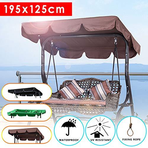 dDanke 3 Seater Garden Swing Replacement Canopy Cover Heavy Duty UV Block Sun Shade Waterproof for Outdoor, 195x125cm, Brown by dDanke