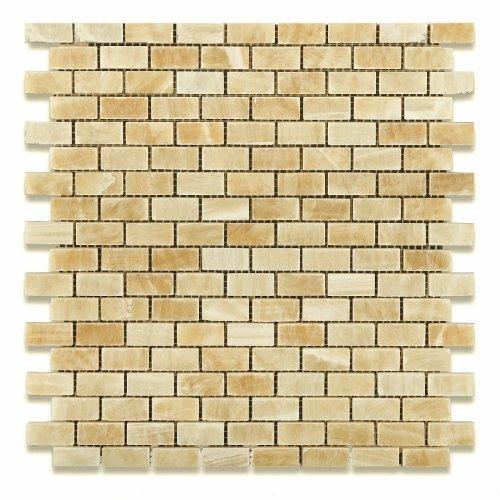 Tile Finish Natural Piece 5 (Honey Onyx Mini Brick Mosaic Tile, Polished - Box of 5 sq. ft.)