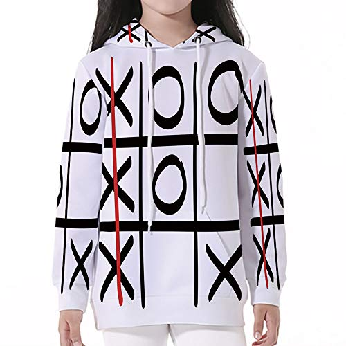 (Pullover Hooded,Xo,Popular Tic Tac Toe Game Pattern Hand Drawn Design Win Victor)