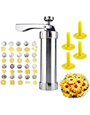 Cookie Press Maker kit:DIY Biscuit Press Gun Kit Kitchen Baking for Biscuit Cake Dessert Maker and Decoration with Sturdy Stainless Steel 20 Disc and 4 nozzles