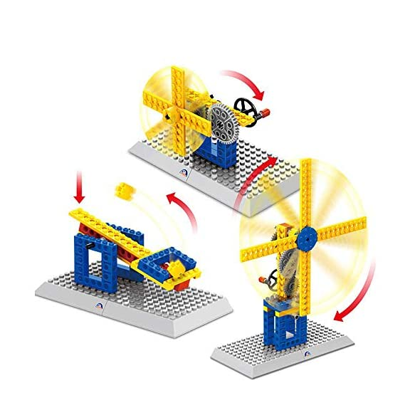 SYGA 50 Pcs 3 in 1 Structures Plastic Building Windmill, Small Windmill, Catapult (1302)