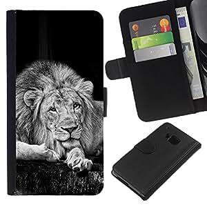 KingStore / Leather Etui en cuir / HTC One M7 / Majestic Retrato Negro y White Lion