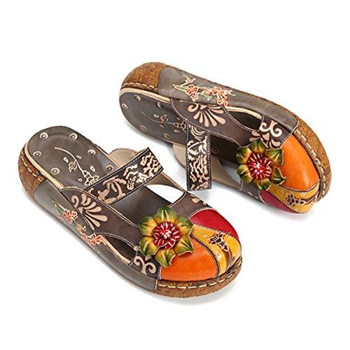 Flower Leather Vintage Slip Women's Loafer Shoes Backless Flat Ladies Colorful Grey on Summer Slipper Sandals vw8rIq8dU