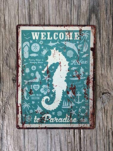 Retro Tin Sign Wall Decor Plate Welcome to paradise seahorse Metal Wall Plate