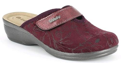 INBLU Pantofole Ciabatte Invernali da Donna Art. BJ-92 Velcro Prugna (36 EU 48bf095e5b9