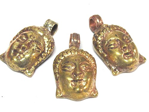 3 pendants set - Tibetan solid brass Buddha face pendant with mix coppery antiqued finish reverse side floral carving from Nepal - PM462Cx ()
