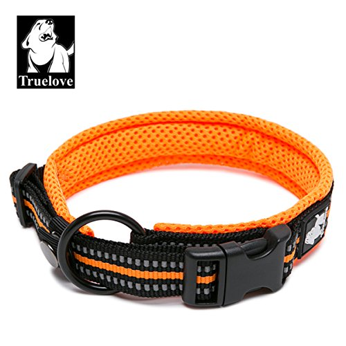 TRUE LOVE Dog Collar Reflective Premium Duraflex Buckle,High Grade Nylon Webbing No Choke Basic Collars Truelove TLC5011(Orange,M)