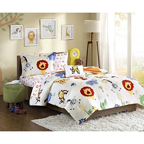 Mizone Boys and Girls 8-piece Jungle Animals Bed in a Bag Comforter Set. Choose Multi Colored Twin or Full. Kids Bedding Set. Includes Scented Candle Tarts (twin) (Jungle Twin)