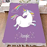 iPrint Bedding Bed Ruffle Skirt 3D Print,Mythical Animal with Clouds and Rainbow Figure Fairy,Best Modern Style Bed Skirt for Men and Women by 59''x78.7''