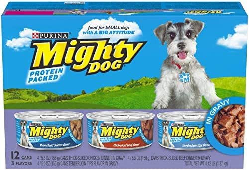 Purina Mighty Dog in Gravy Wet Dog Food Variety Pack – 2 Packs of 12 5.5 oz. Cans